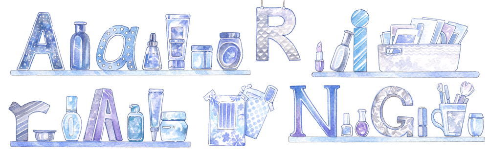 """Shelfie"" inspired beauty blog banner with decorative hand-drawn typo for Aarirang"