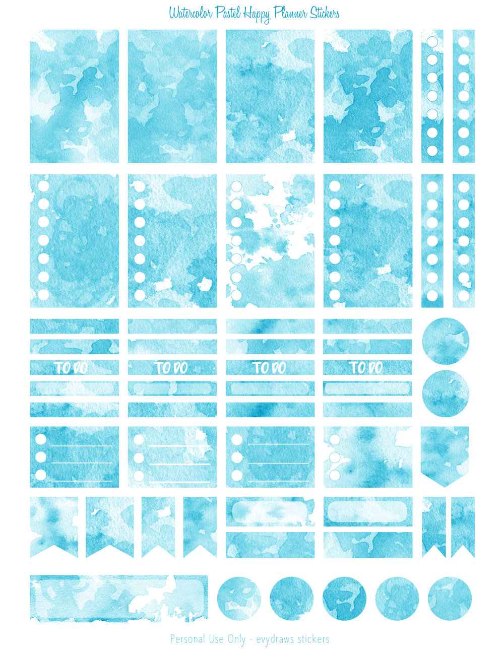 The mint colored version from a series of watercolor texture stickers for the Happy Planner. Boxes, flags, checklists, dots... Anything you need for a basic week in your Mambi or similarly sized planner.  If you use a Silhouette, the blackout files just below will make it easy to create cut lines.  All planner sticker pages are on US letter size paper 8.5 x 11 inches.