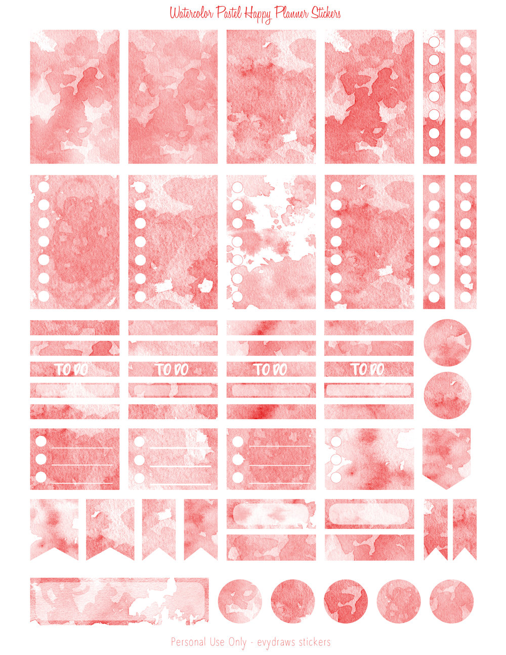 The red version of a series of watercolor texture stickers for the Happy Planner. Boxes, flags, checklists, dots... Anything you need for a basic week in your Mambi or similarly sized planner.  If you use a Silhouette, the blackout files just below will make it easy to create cut lines.  All planner sticker pages are on US letter size paper 8.5 x 11 inches.