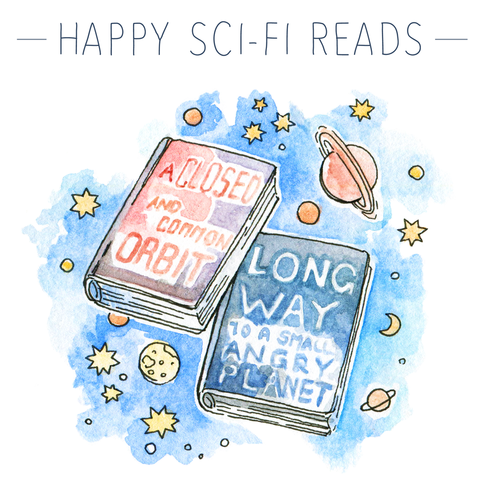 The Wayfarers series by Becky Chambers : Favorite books for May, my book reviews of The Long Way to a Small Angry Planet and the follow-up A Closed and Common Orbit.