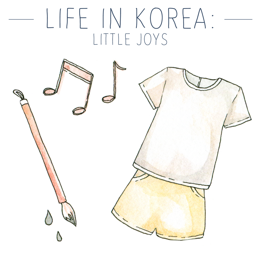 Monthly favorites, illustrations on the blog!  Life in Korea, summer outfits, art supplies and a positive K-Pop surprise...