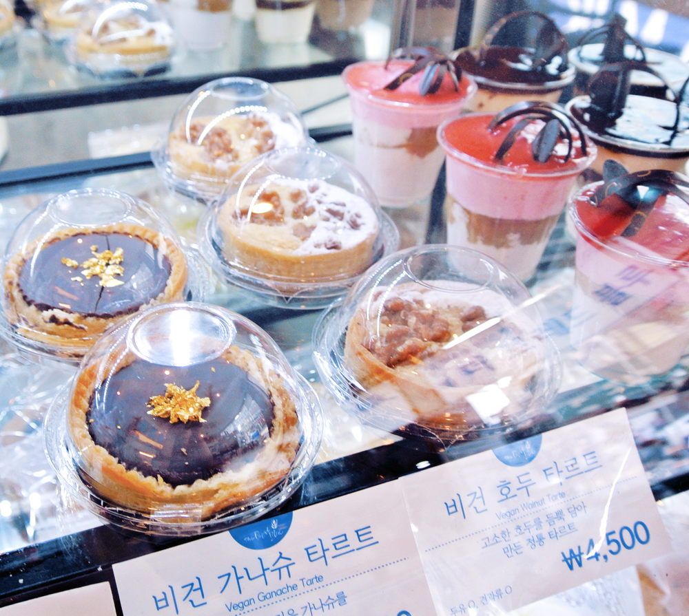 "Vegan dessert bakery ""The Bread Blue"" in Seoul, Sinchon area. If you're traveling around Korea and crave desserts, this is your place to go! Near Hongdae, all vegan bakery selection, soy milk coffee options, cute interior and delicious food!"