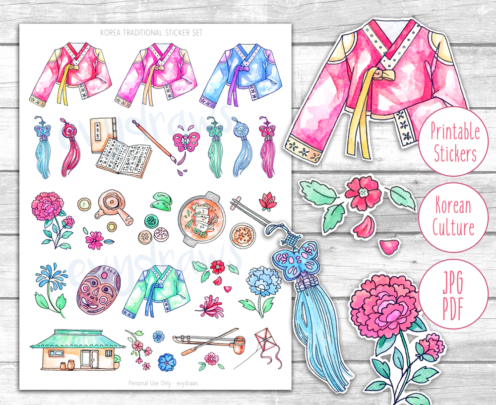 A printable sticker motives with Korean Hanbok and other traditional cultural motives. You can find the digital file here!
