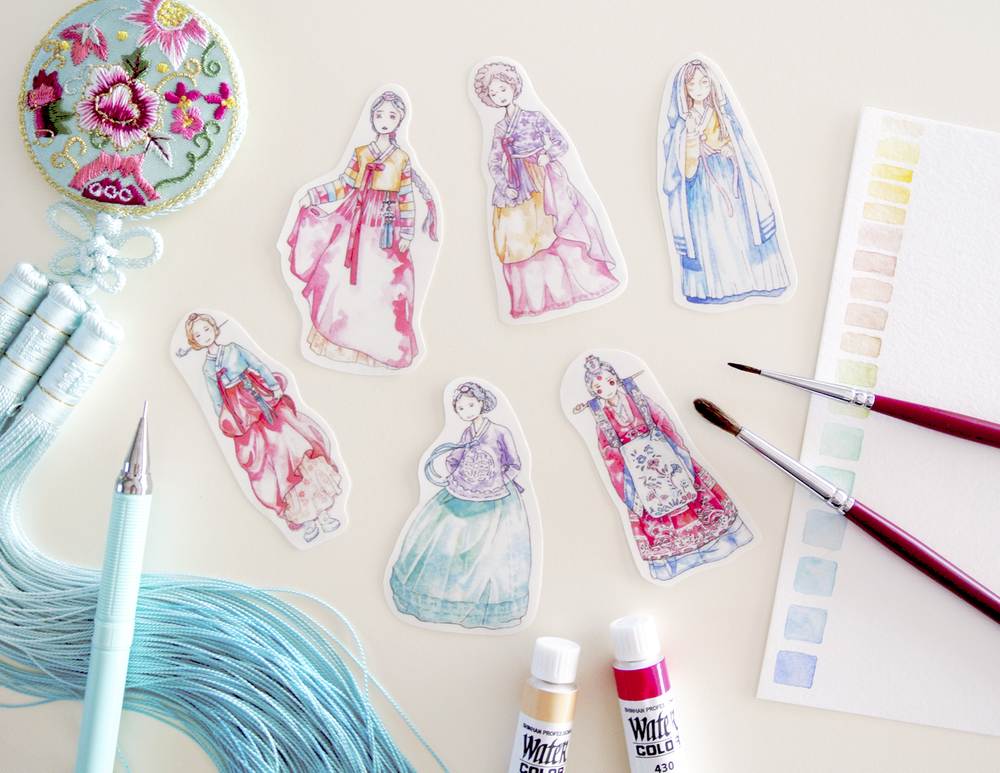 Korean Hanbok Drawing, Watercolor Illustration Stickers, Etsy Sticker Set, Hand drawn sticker artwork by Evelyne Park, Korea traditional dress