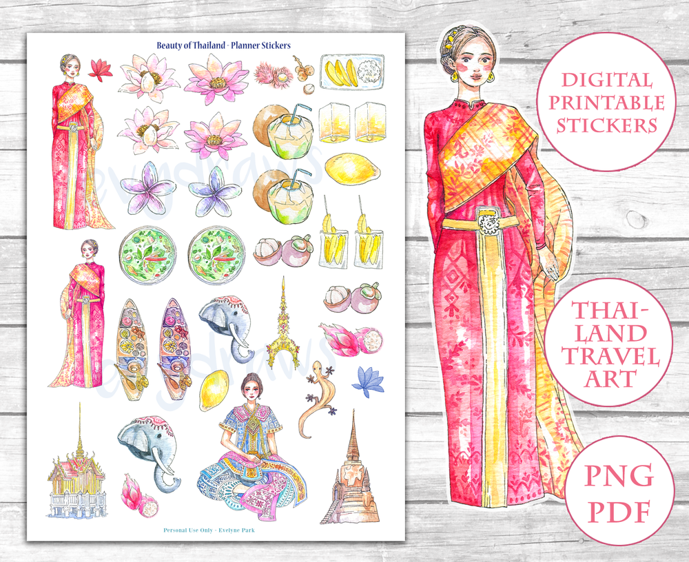 Printable travel stickers, Thailand, Beauty of Thai Culture, Handdrawn watercolor sticker printable | Free sticker printable page on my blog!