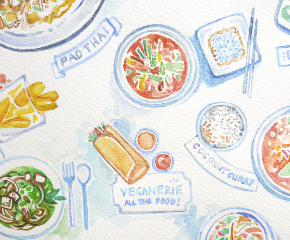 A closer look at the food drawings. I loved the red curry with wild blue rice up in the right corner. Also, drawing blue rice makes me feel kind of stupid.