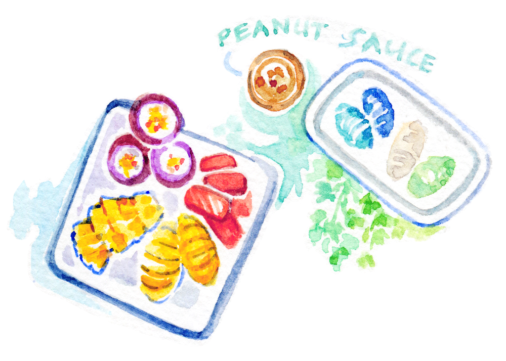 Fruit and peanut sauce and rice dumplings... what more to ask for?  Illustrated Thailand food & travel diary on the blog. Colorful, tasty and vegan!