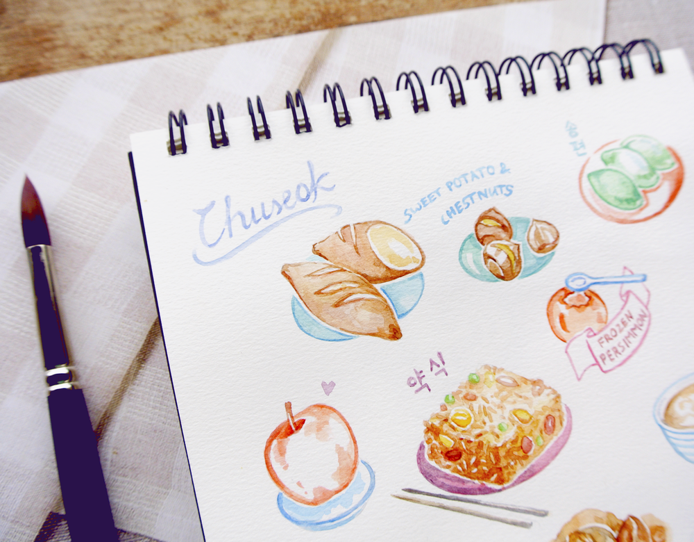 Korean Chuseok Holiday Feast: A food diary in my sketchbook. As a vegan living in Korea, I've adapted some of the traditional foods that dominate Korean thanksgiving, and of course indulged in classics like rice cakes, baked sweet potatoes, chestnuts and Yaksik.