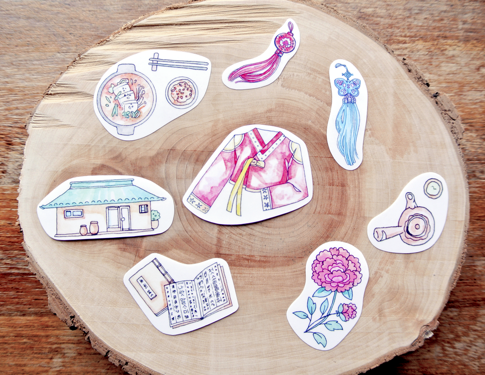 Korean Tradition & Culture : Sticker Set.  Watercolor illustration of Hanbok, Korean traditional houses, calligraphy, tea ceremony and food, turned into cute sticker flakes for your travel diary or journal.