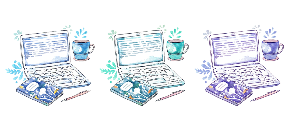 NaNoWriMo desk situation illustration. All you need is your laptop, notes, pen, and generous amounts of coffee! Happy writing!