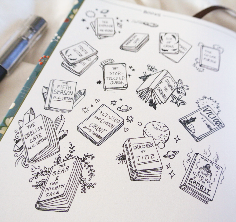 New additions to my book tracker in June. I listen to a lot of audiobooks (perfect while drawing!) and love doodling these little books in my bullet journal once I'm done reading. :) More creative bujo ideas over on the blog!