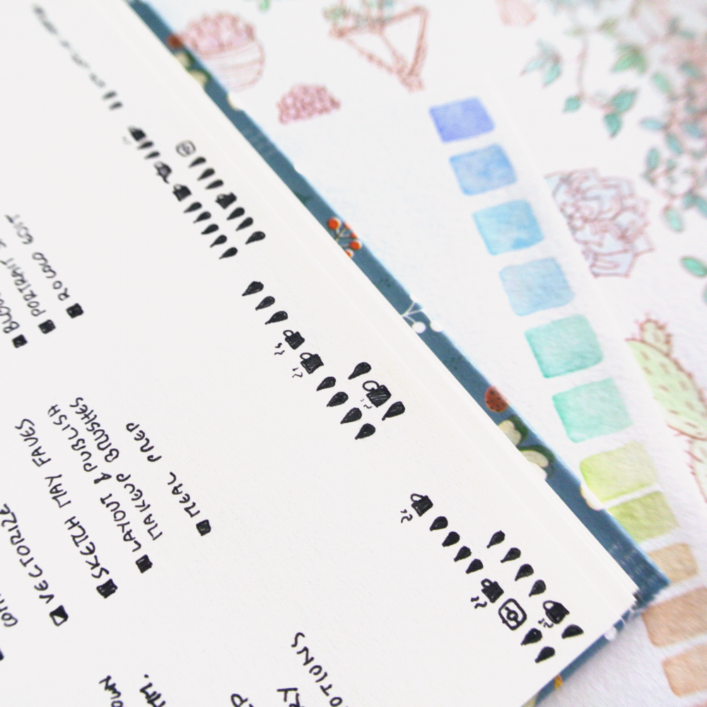 """Little hydration trackers in my Bujo. I added coffee trackers and Instagram posting trackers, too! More creative and productive doodle ideas for bullet journals can be found on my blog """"evydraws""""."""