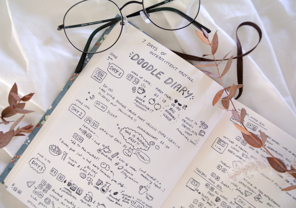 Doodle food diary to document my first days ever of intermittent fasting! I went with the 16:8 method and keeping a food diary in my bullet journal was so helpful in reminding me of meal times and to be more mindful about eating in general.