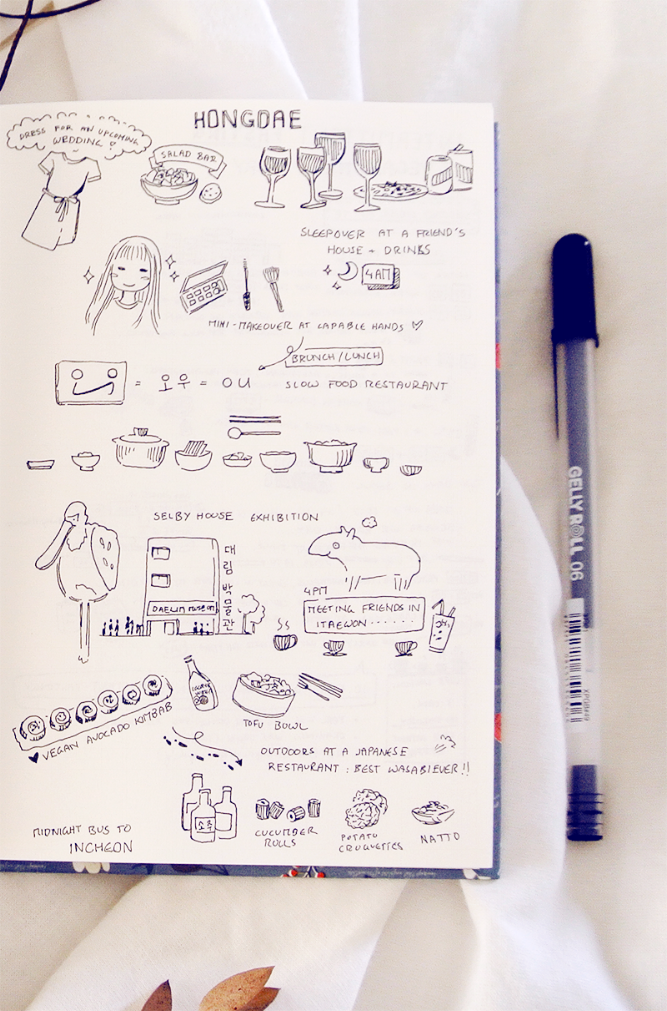 I really like how this travel diary page in my bullet journal turned out! Maybe it's the combination of notes and doodles, or those little Korean food drawings... Maybe the Selby animal? Anyway, I love looking at it now and remember all the delicious foods we ate and beautiful places we visited in Seoul!