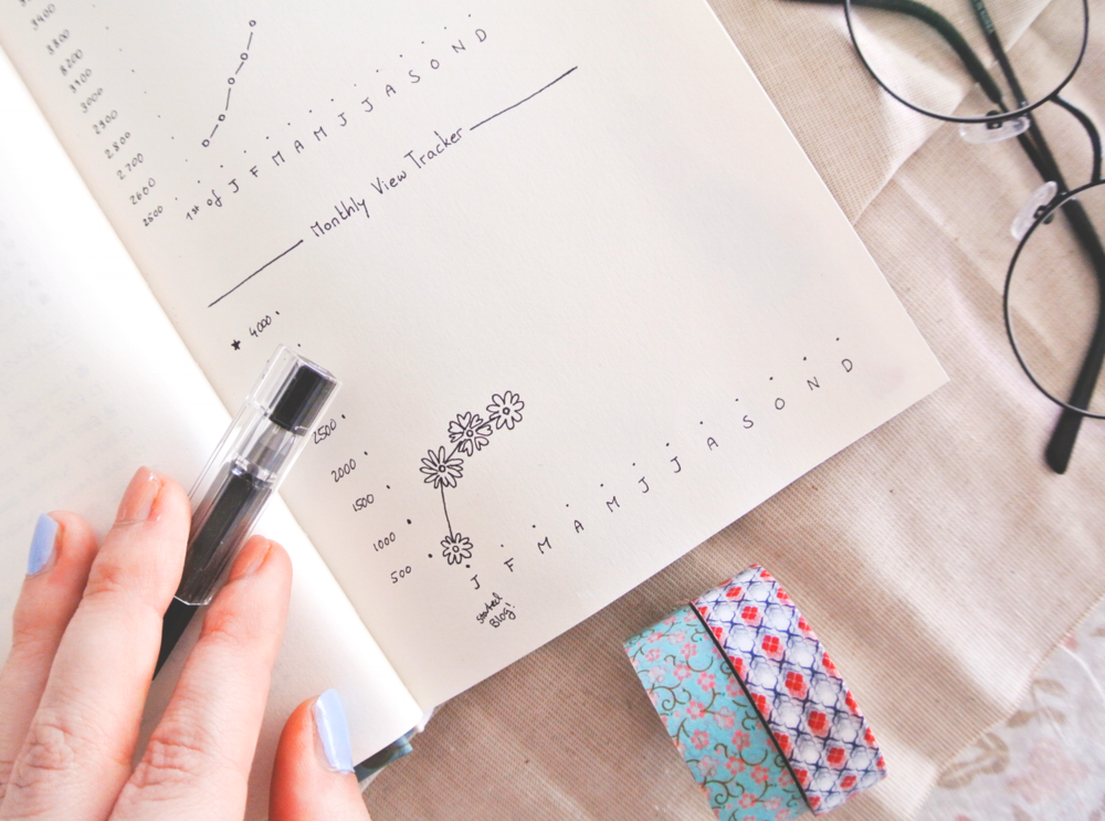 Blog traffic tracker in my bullet journal, with little flower doodles to make life prettier!