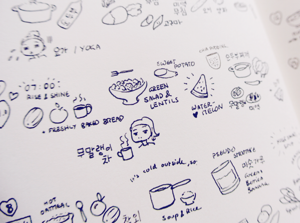 Little food diary drawings in my bullet journal. Korean food mixed with lots of fresh vegetables, fruit and legumes. I actually lost three kg during those days - keeping a diary helped in keeping track of nutrition and recipes.