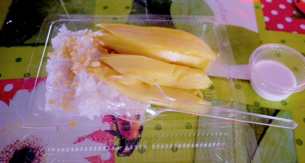 Mango with sticky rice, soaked in delicious coconut milk. My staple dessert (or, well, meal) choice on traditional Thai markets in Bangkok. When traveling as a vegan through Thailand, fruits and coconut based desserts are the safest bet.