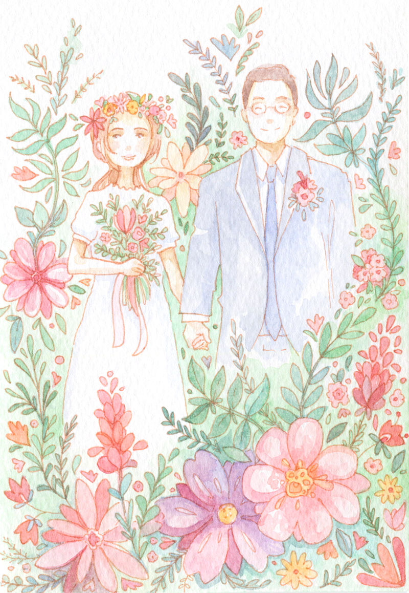 I added a little extra drawing as a wedding gift for the couple.