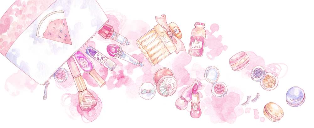"A ""What's in my Pouch?"" Beauty Illustration for Shiaswelt. Love the pink pastel hues here!"