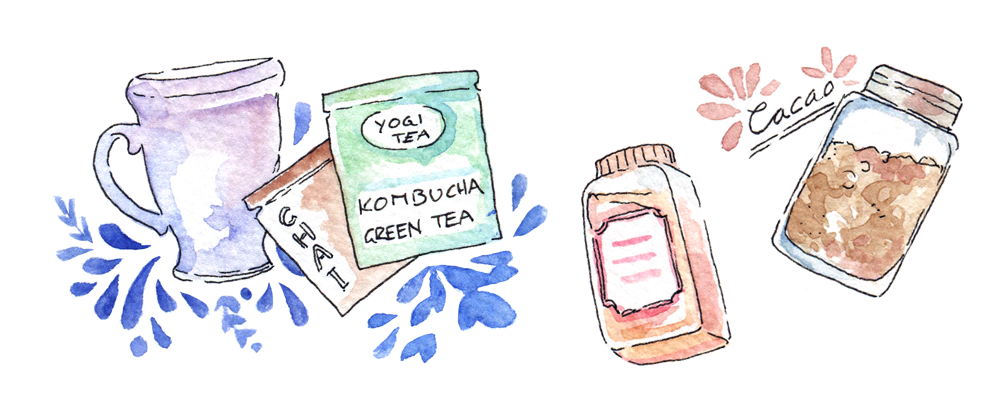 In fall, I'm obsessed with pumpkin spice, cacao powder, chai tea - and a new discovery: Green tea combined with Kombucha! You can find my illustration and fall favorites post on the blog over at www.evydraws.com