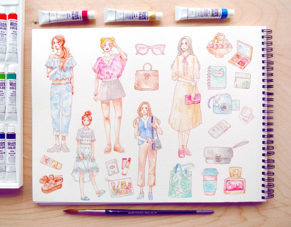 The finished illustration for my travel/vacation/fashion stickers. There're two more girl drawings on a separate page, too.