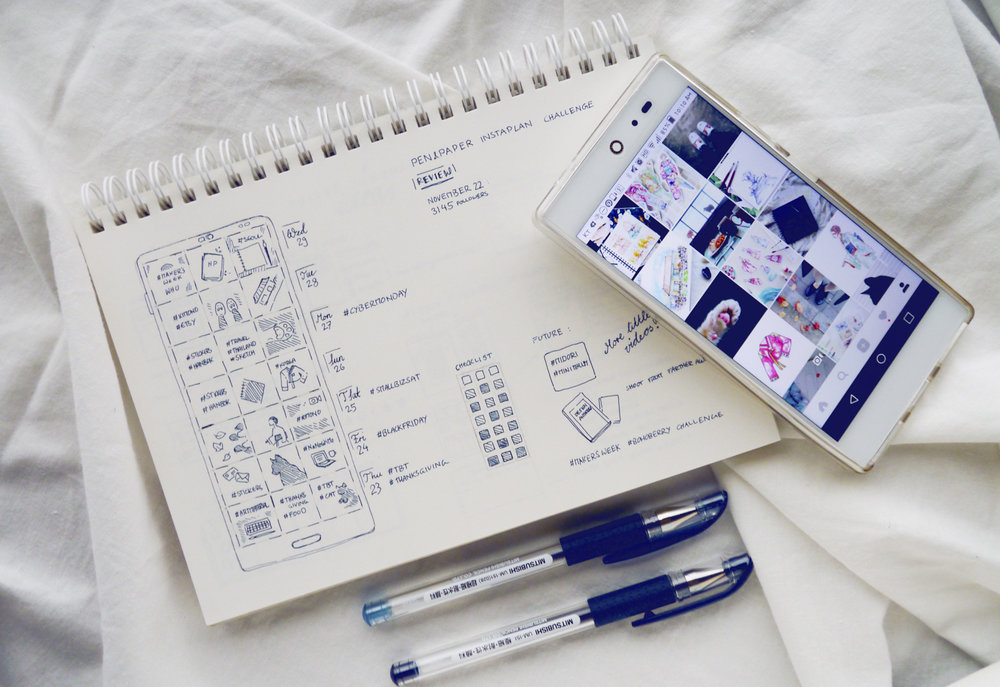Instagram in my Bullet Journal: Cohesive Feed Planner & Tracker (+ Free Printable) Use a bullet journal or just my printable layout to plan, brainstorm and track your Instagram posts, write down important hashtags and events, and track your posting rhythm! Using a pen, paper, and a minimalist bujo layout is so much more calming and inspiring than Instagram scheduling apps. While I just doodled my own Instagram Tracking spread, I made a free printable version for my readers, too.