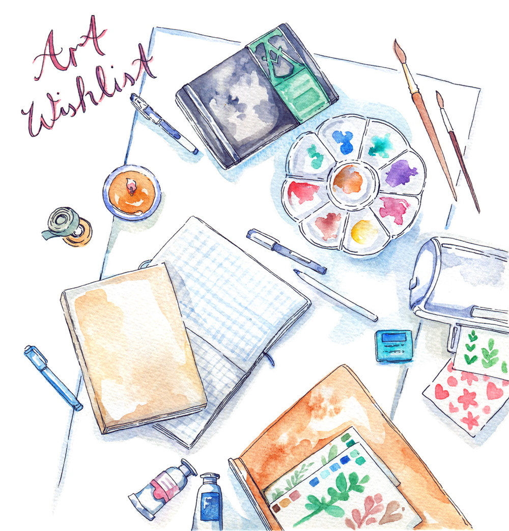 My favorite art materials and wishlist compiled into an artist gift ideas guide - from beginner to professional, watercolor painter to sticker DIYer, I think I've got something for everyone. :) My art supply favorites have been tested and used over the last decade (time flies!) and I've got a long list of personal preferences that all my art materials need to fulfill, but I tried to be as broad and creative with this gift guide as I could!  From bullet journal supplies to luxurious art gifts, I hope you find something for your artist friends - or for your own wishlist!