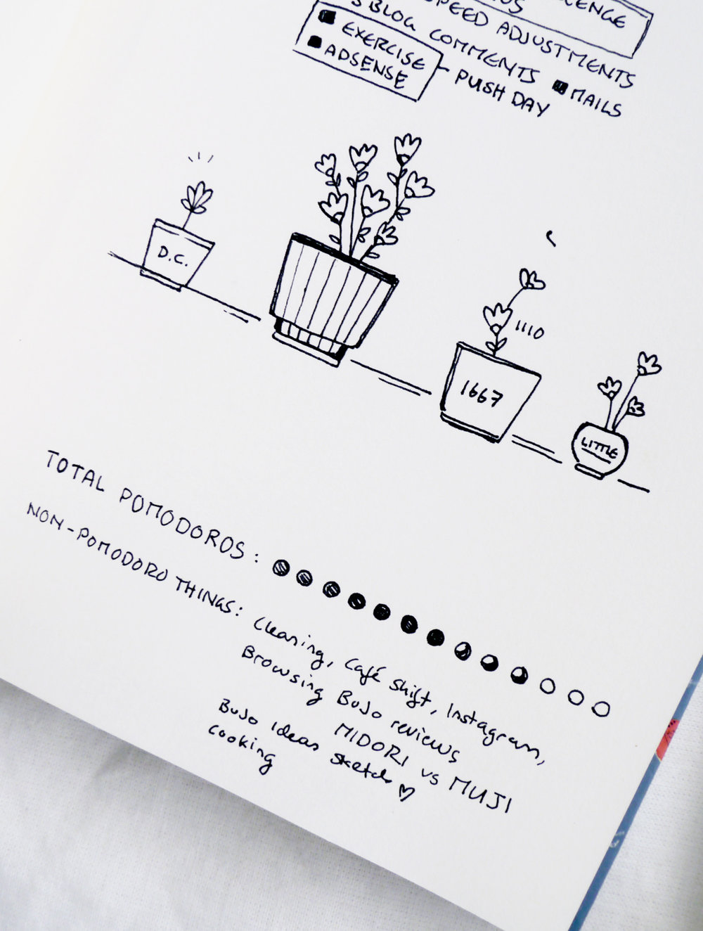 "I grouped my daily tasks into different categories and ""planted"" them in these little flower pot drawings in my bullet journal. Of course, those were inspired by the very name of the Pomodoro technique - I wanted to grow tomatoes. :)"