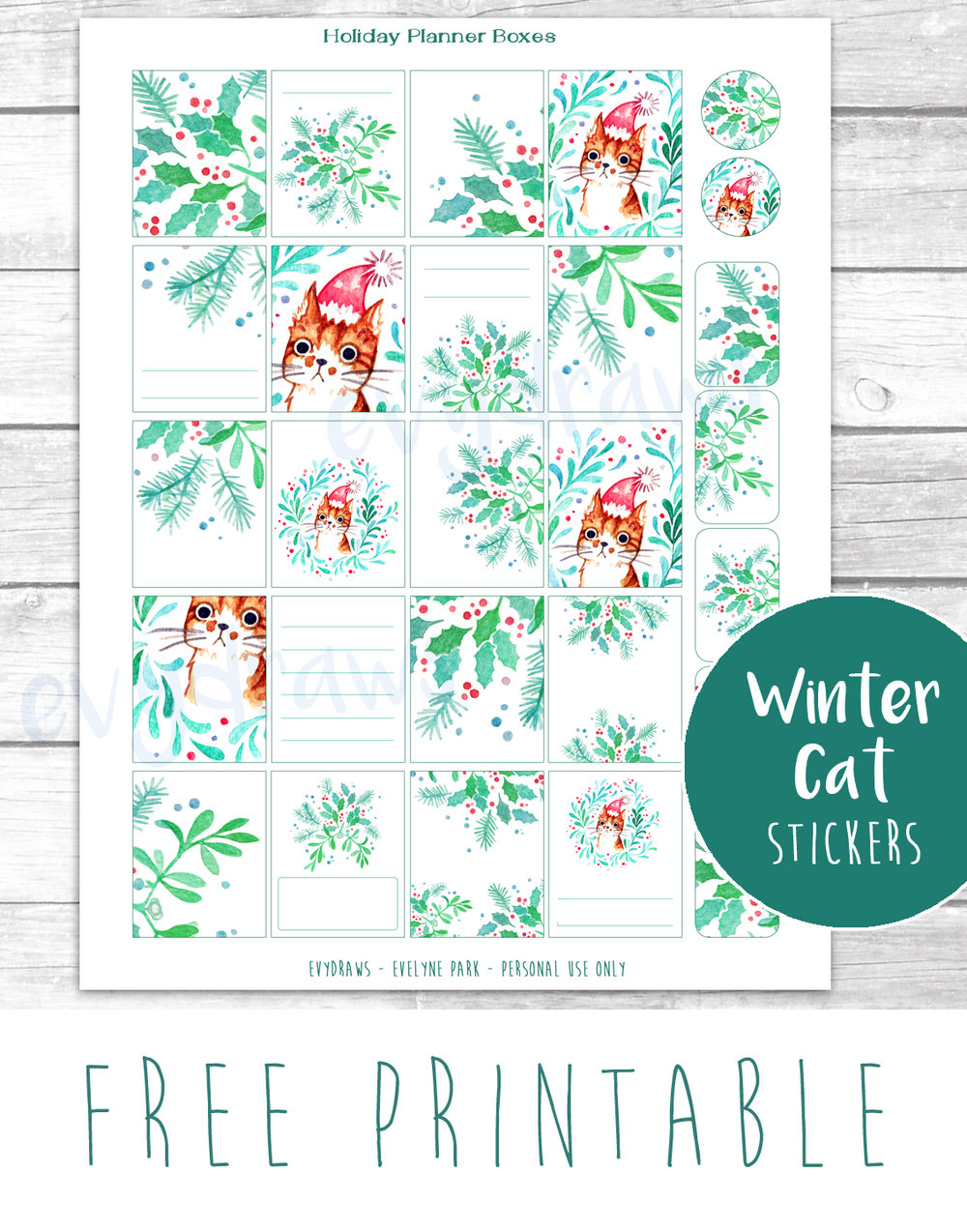 FREE printable DIY Holiday planner stickers.  Created with my watercolor Santa Cat and mistletoe wreath illustrations, these cute and unique planner stickers are perfect for the Erin Condren Life Planner - or for last-minute gift wrapping decorations! I use them like gift tags myself... Also up for the Holidays: Free greetings cards and lots of printable goodies.