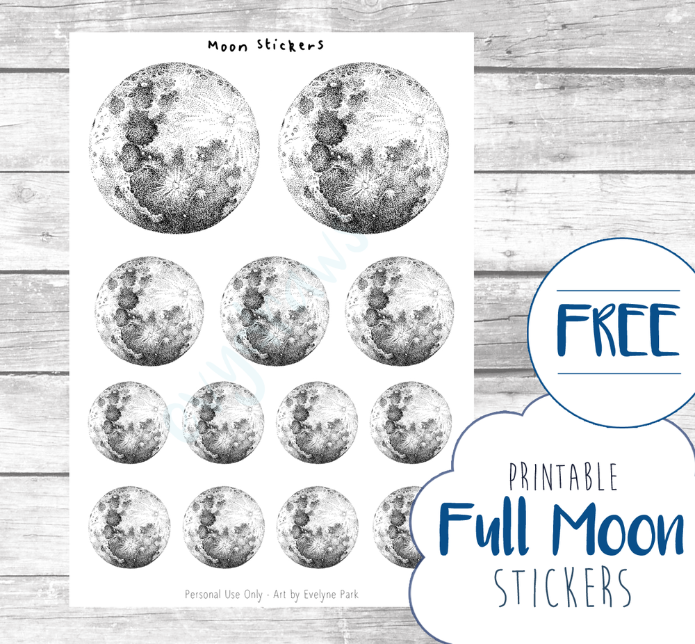 A free printable made with my hand-drawn ink full moon illustrations. Use them for minimalist decor in in your planner or bullet journal! Available in my library for subscribers.