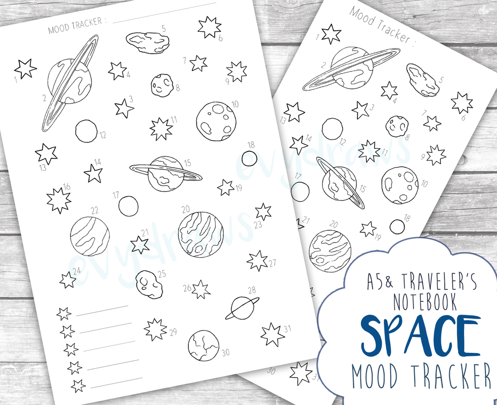 Bonus: Inspired by all the outer space doodles, I created this mood tracker page. It's a bit more playful than the simple weekly layouts - personally, I love combining efficient day-to-day planning with more creative and elaborate monthly or yearly collections.