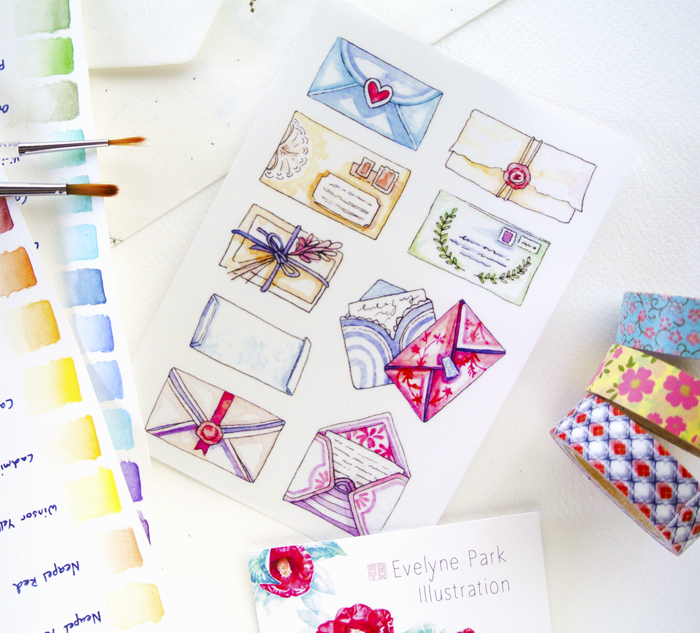 ... as well as stationery and stickers that I use to decorate orders I ship from my Etsy store.
