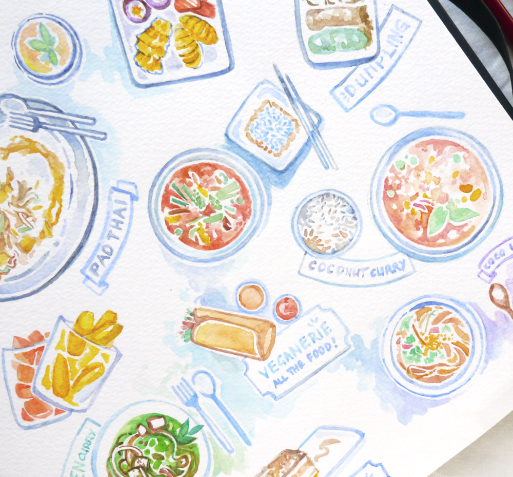 Travel (or rather: Food) diary sketches for my vacation in Thailand. It's so nice to be able to remember everything this way!