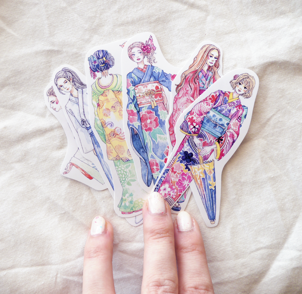 I loved painting more traditional clothing sticker sets, like these Kimono ladies...