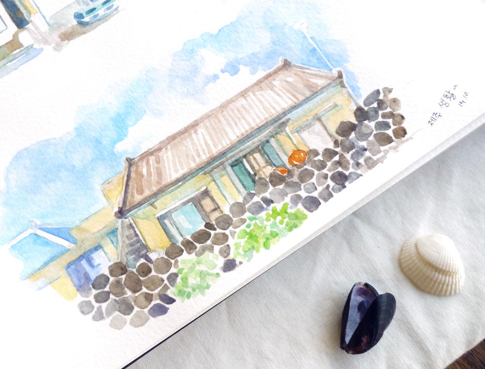 Travel diary sketch for Jeju Island and its traditional stone walls.