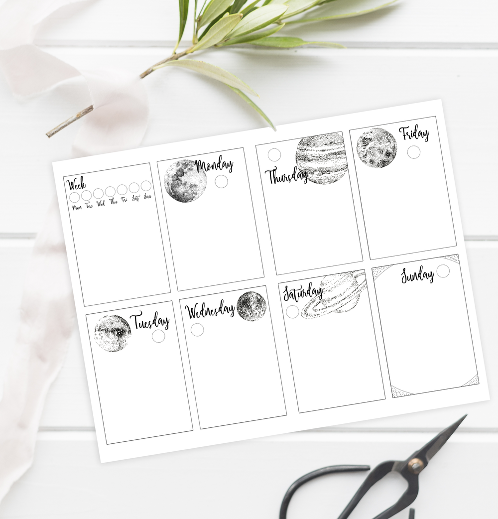 For all subscribers to my newsletter,  this printable weekly layout is available in my library  just during February. If you're into the outer space aesthetic combined with simplicity for your bullet journal, I've got you covered!