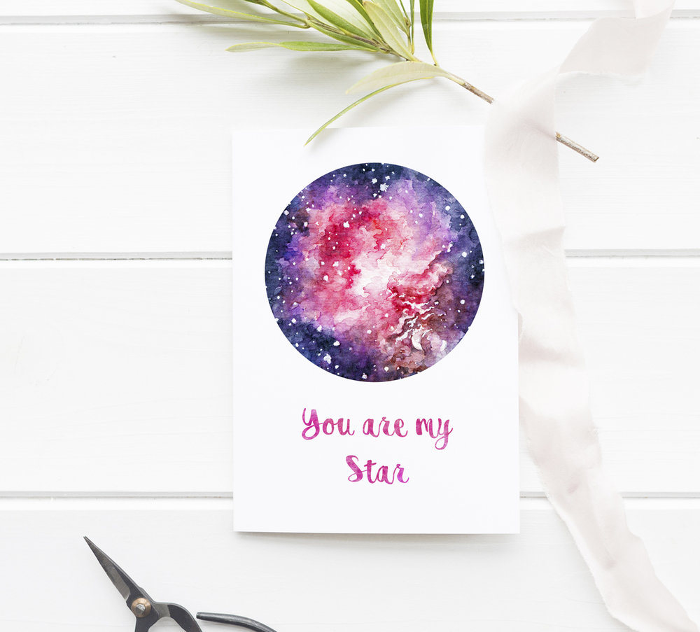 "* A romantic PRINTABLE card inspired by space & stars, with hand-drawn watercolour galaxy art patterns on the front and back.   With ""You are my Star"" watercolour pattern calligraphy. Request a custom message or use the card as is. The digital download file can be printed at home - perfect for a last-minute DIY gift for Valentine's Day!  * A bonus blue night sky illustration decorates the back of the A5 card and the printable design comes with a wide margin and guidelines to make your printing, cutting, and folding easy!   * The calligraphy element can be personalized - request a customization and I'll add a personal message with the same watercolor pattern font."