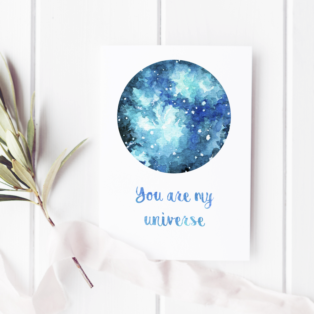 "A minimalist & romantic PRINTABLE card with a simple watercolour galaxy art. ""You are my Universe"" script is customizable. :)  The digital download file for this A5 Valentine's card can be printed at home - perfect for a last-minute DIY gift!  * A bonus red night sky illustration decorates the back of the A5 card and the printable design comes with a wide margin and guidelines to make your printing, cutting, and folding easy!   * The calligraphy element can be personalized - request a customization and I'll add a personal message with the same watercolor pattern font."