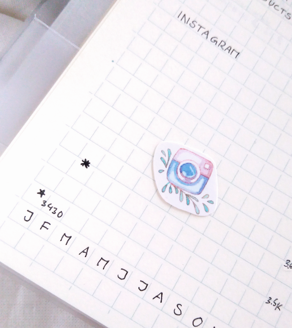 Social media followers tracker in my bullet journal - Instagram.  In 2018, I'm taking my small blog and creative business - I'm a freelance illustrator and Etsy seller - on a little journey towards passive income.  Now, it's time to look back at  February  and post my stats - as always collected in my bullet journal because that's just how I do things. If it's not written down, it doesn't count!  Even if you don't plan on earning an income from your blog yourself, I hope you can find ideas, inspiration, and motivation for your own blogging journey through my little recaps.