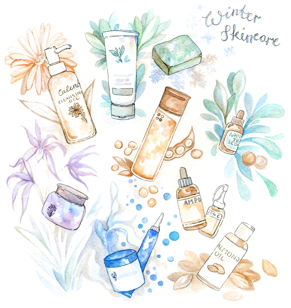 Korean Natural Skincare Routine for Cold Winters - Beauty Illustration  It's been forever since I wrote about beauty or skincare! To get back into the swing of beauty reviews I think it's best to show you where I'm at:  My multi-step skincare routine for winter  The products I use (mostly Korean, because that's where I live!)  Why I use them on my sensitive, dry skin  How to move towards more natural skincare  How to navigate cruelty-free or vegan beauty in Korea