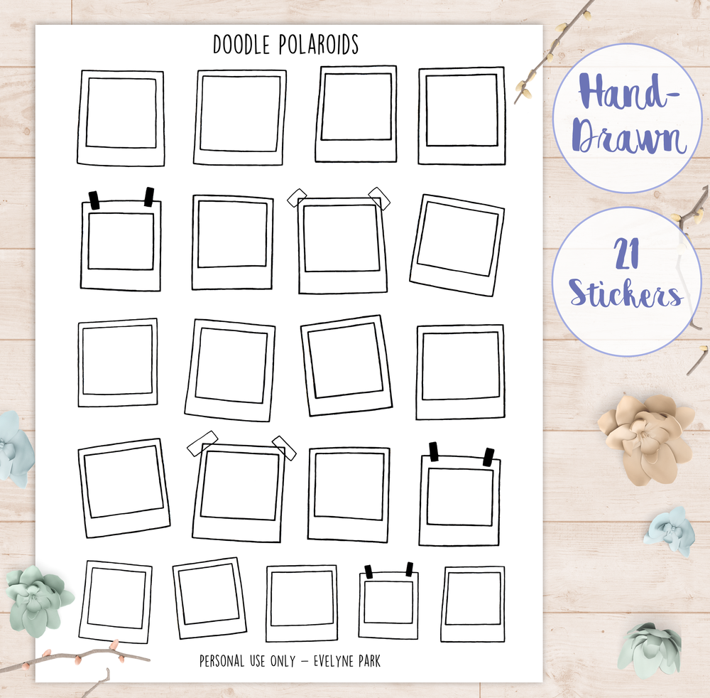 I made Polaroid picture frame stickers that you can print and put into your planners or journals - having the frames already in my layout makes sure that I actually fill them with doodles!