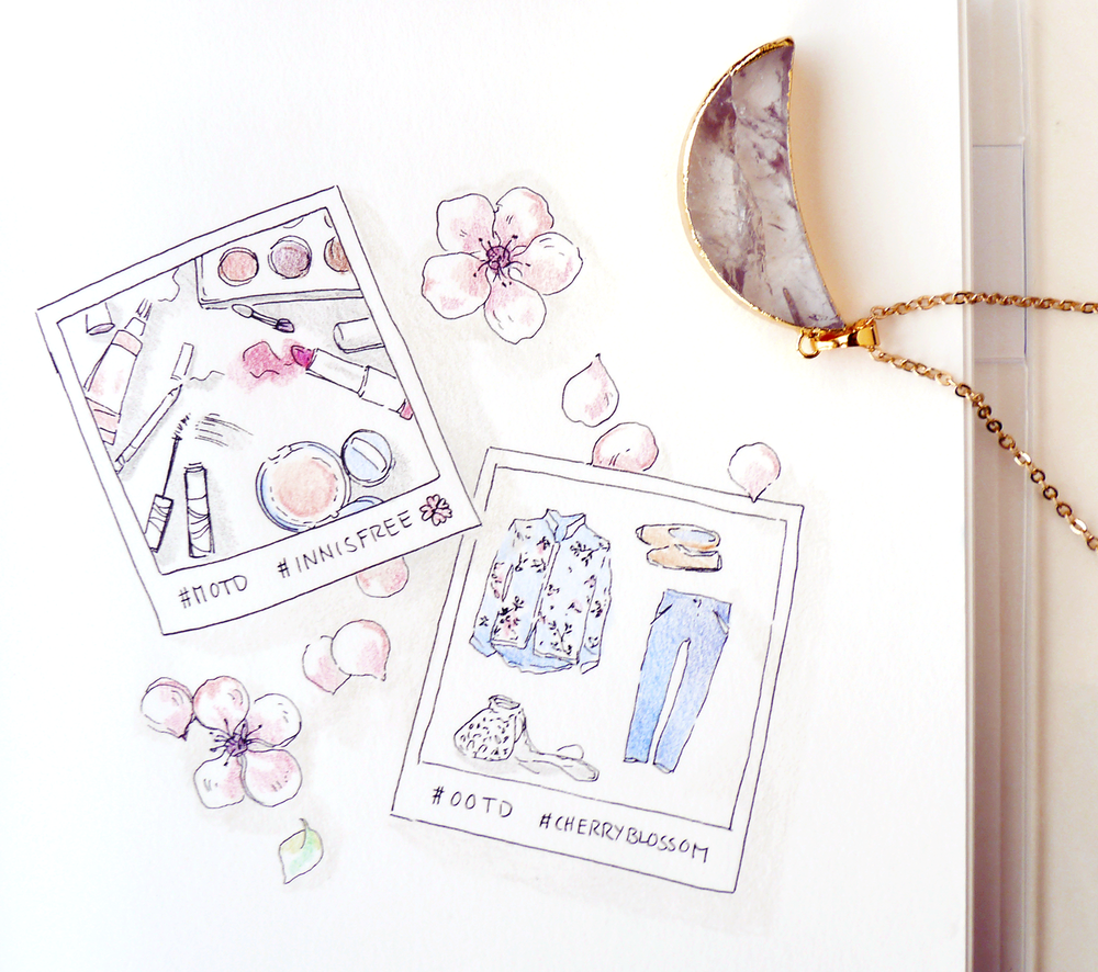 Cherry Blossom Season in Korea: Makeup of the Day, Outfit of the Day   These cute little drawings in my travel journal capture my #MOTD and #OOTD - I love keeping memories this way instead of just with pictures! The doodle Polaroid picture frames and scattered cherry blossom complete my sketchbook page.    Makeup   flatlays   - I love drawing these!  They're so simple, with just the rough forms of each product and a hint of color. Makeup is a form of art and I like to think of these doodle flatlays as a form of fashion illustration. A cute Polaroid picture frame brings the whole image together.  For my spring & cherry blossom makeup look, I used some of my favorite products by Innisfree. Their colors look very natural and it's hard to mess up even if you aren't the best at applying makeup... (cough cough)