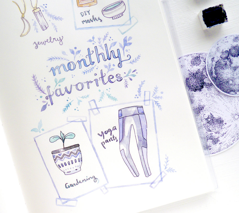 Art journaling in my Midori: Monthly favorites illustration  I love keeping memories in my bullet journal and art diary, so here are a couple watercolor doodles for April!