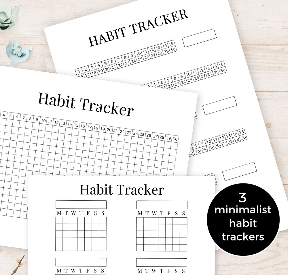Printable Minimalist Habit Trackers - A Starter Kit for Your Bullet Journal With a free monthly horizontal habit tracker on the blog as an instant digital download, and two more minimalist, simple habit tracker designs available at the shop.  As these habit trackers all have a basic, no-nonsense look to them, you can combine them easily with other more elaborate layouts and doodles in your journal, planner, or diary.