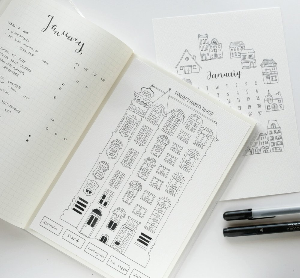 Minimalist Bullet Journal Setup for 2019 - Habit Tracker printable, productivity tracker, monthly goal setting, and simple to-do lists. Plan with me for the new year and grab a free printable (or two).  I ring in the new year with a yearly bullet journaling inspiration post, with a focus on how to be productive, efficient, and use a bullet journal or planner for long-term and short-term goals. This habit tracker page is one of the more playful and creative layouts, combining minimalist black coloring with an elaborate house illustration. Tracking only five habits this month gives me room to truly focus on what's important!