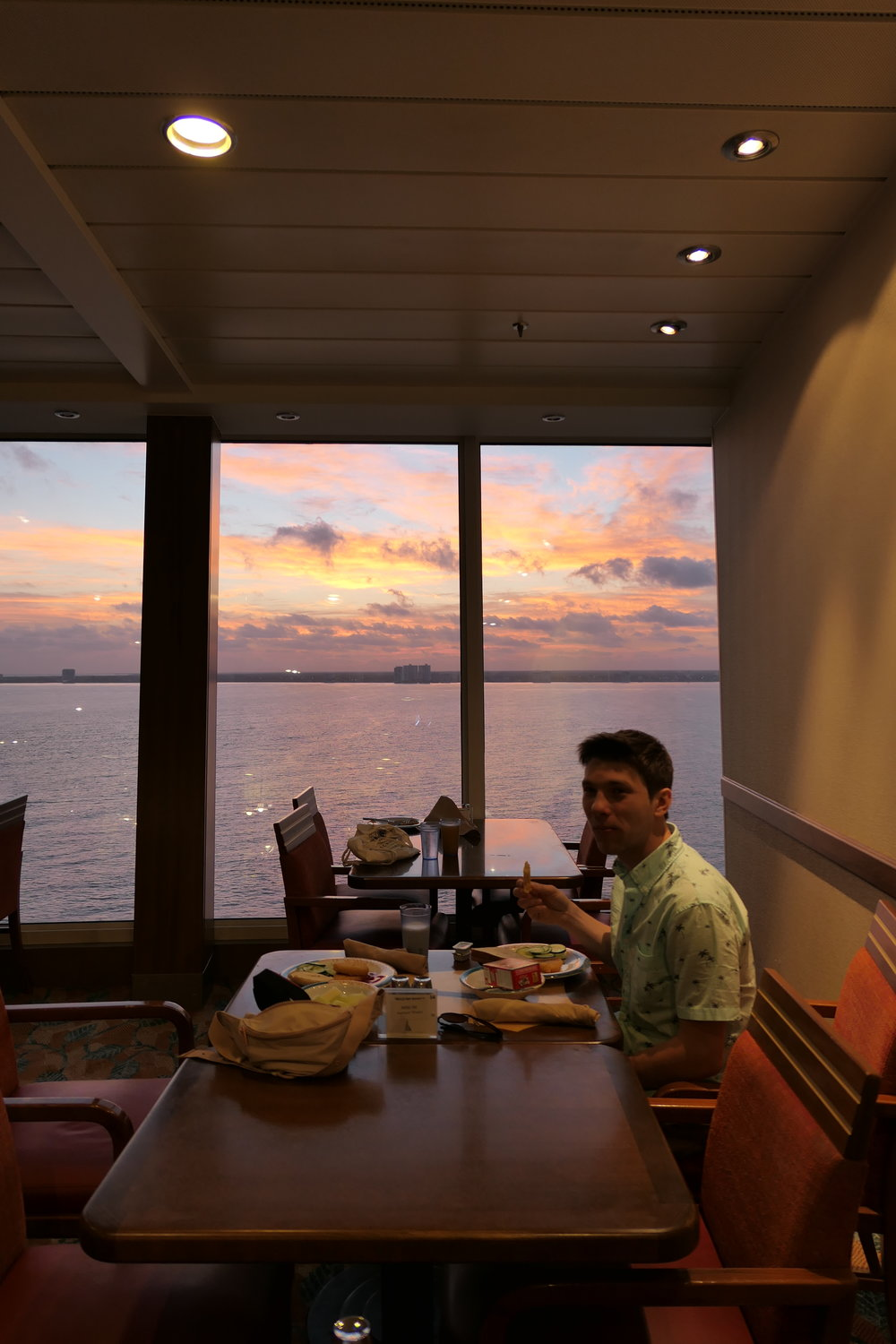 Here is one photo I don't mind sharing :). The morning we docked in Cozumel there was the most beautiful sunrise during breakfast. We had a great view!