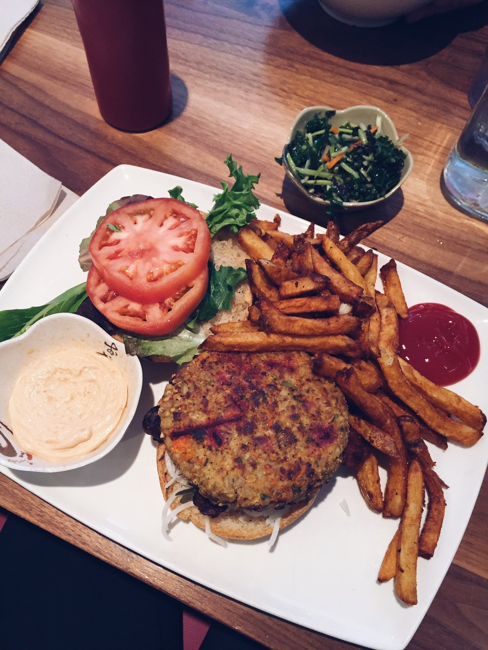 mediocre veggie burger and delicious fries