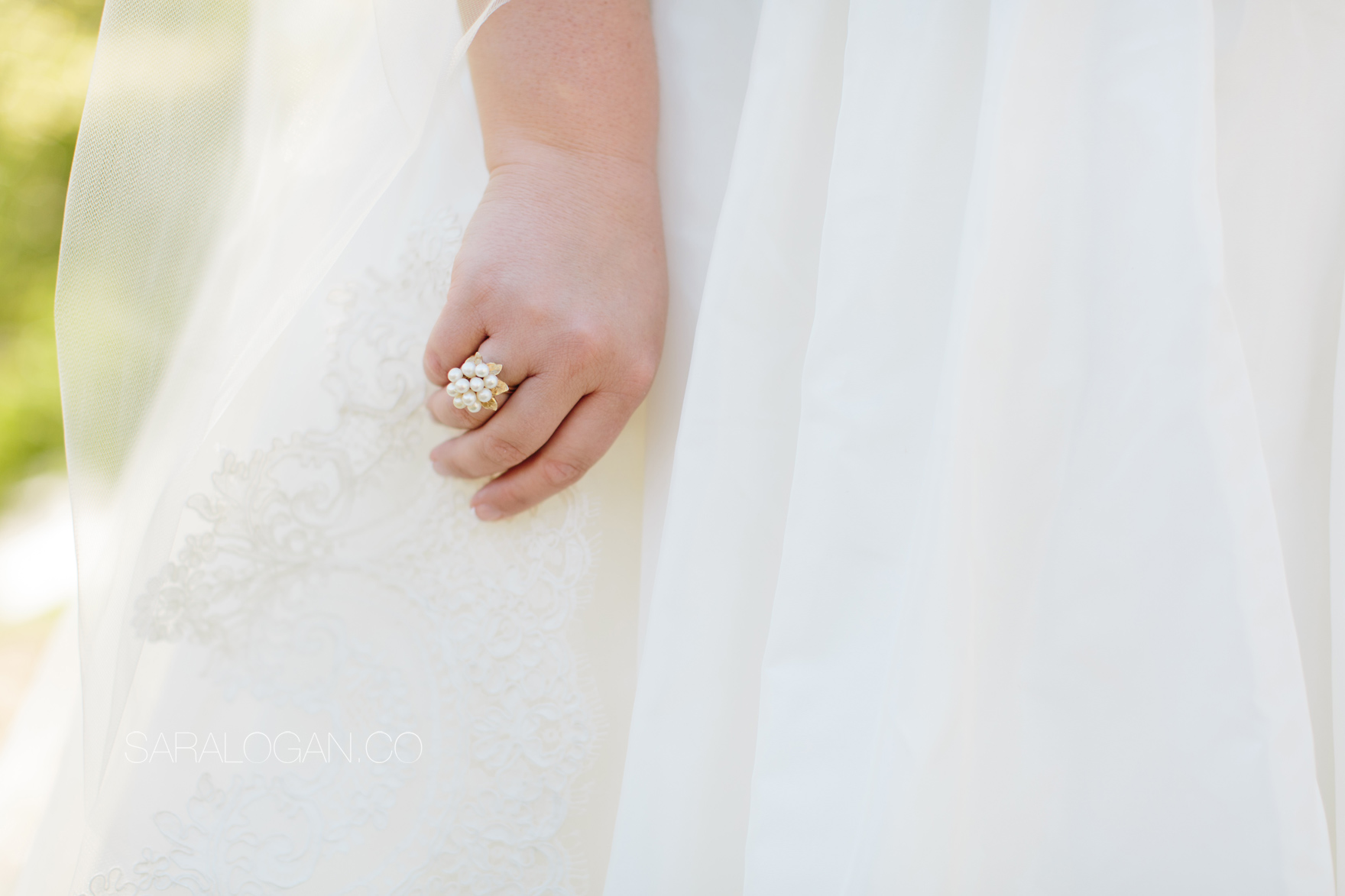 Vintage right-hand ring on wedding veil