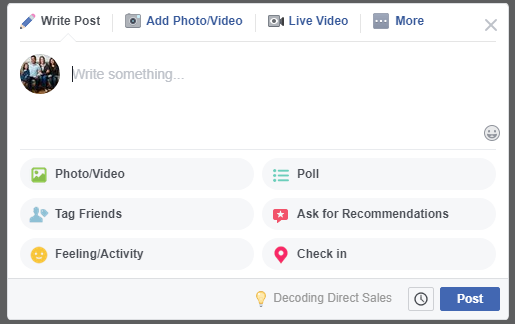 To schedule a post for a later date, click on the Clock next to the blue Post button for your Facebook Group Posts.