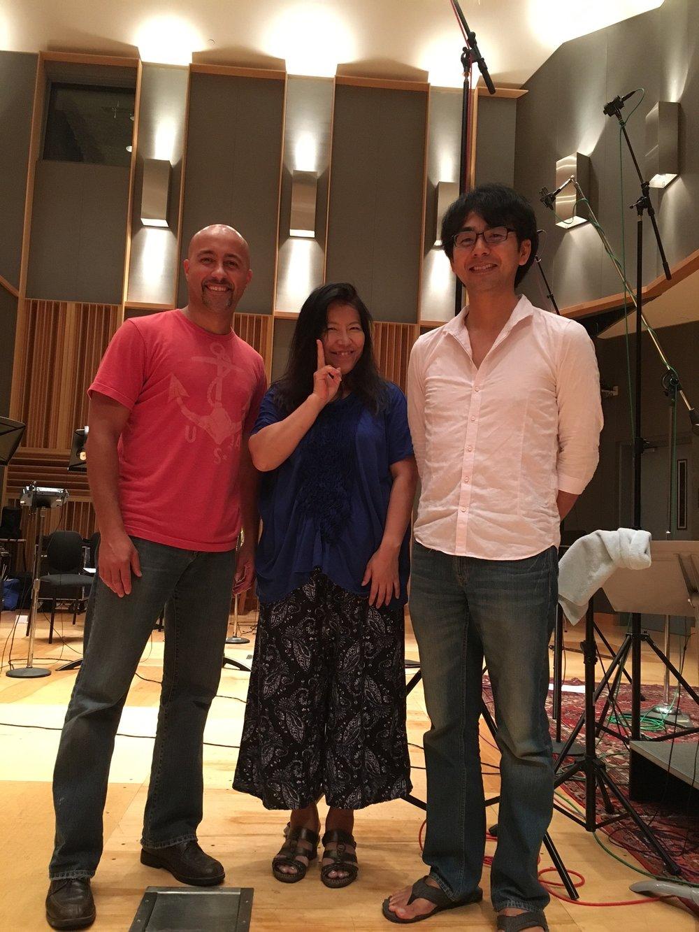 From left to right: José with composer Yoko Shimomura (Kingdom Hearts, Final Fantasy XV), and Shota Nakama (SoundtRec Boston, VGO).